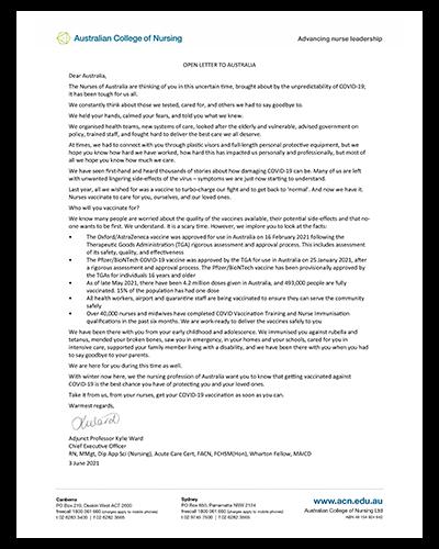 Dear Australia Open Letter - Australian College of Nursing