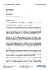 Letter to Minister Hunt cover